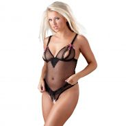Cottelli Transparent Bodystocking with Open Breast