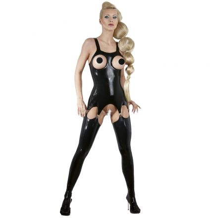 Late X Latex Top with Suspender Straps
