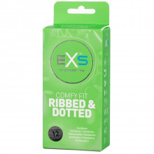 EXS 3in1 Comfy Fit Ribbed & Dotted Condoms 12 pcs  1
