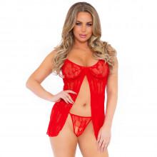 Leg Avenue Romantic Babydoll og G-Streng Sæt Rød Product model 1