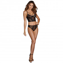Dreamgirl Stretch Mesh & Galloon Lace Bustier Set Product model 1